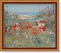 Репродукция картины Чайльда Хассам (США)  «Сад на острове. Штат Мэн» -  1905 г. 60 х 70 см