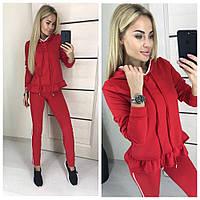 Модный женский костюм кофта с капюшоном и штаны с лампасами красный 42-44 44-46, фото 1