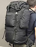 Тактический (туристический) рюкзак на 65 литров Black (ta65 чёрный), фото 7