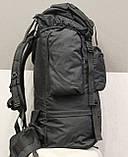 Тактический (туристический) рюкзак на 65 литров Black (ta65 чёрный), фото 9