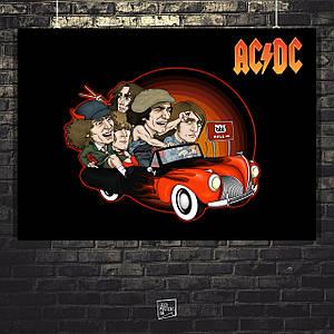 Постер AC/DC, карикатура. Размер 60x42см (A2). Глянцевая бумага