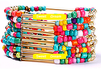 Стильный многослойный красочный браслет из бисера Богема