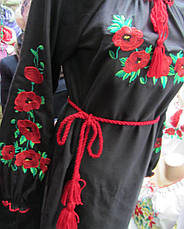 Платье вышиванка с маками черное, фото 2