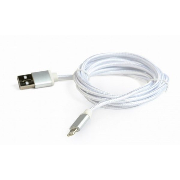 Кабель Cablexpert USB 2.0 Lightning (CCB-mUSB2B-AMLM-6-S) A-папа/Lightning 1.8м, з опліткою і метал. роз'ємами