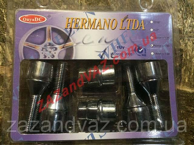 Секретки болты колесные ВАЗ 2108-21099 хром с вращающимся кольцом под титановые диски 372120 X2