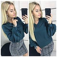 """Красивая женская блузка из шелка Армани с длинным рукавами """"фонариками"""" зелёная 42-44 44-46, фото 1"""