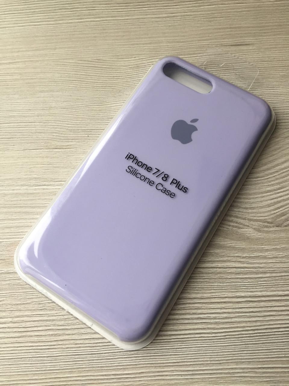 Cиреневый чехол для iphone 7+/8+ в упаковке микрофибра + soft-touch