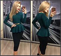 Красивый женский костюм: зелёная кофта с баской и длинным рукавом и чёрная юбка карандаш 42-44 44-46, фото 1