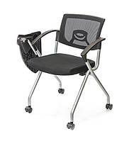 Стул офисный с откидным конференц-столиком Изи T AL черного цвета из ткани