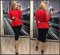 Красивый женский костюм: красная кофта с баской и длинным рукавом и чёрная юбка карандаш 42-44 44-46, фото 1