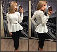 Красивый женский костюм: белая кофта с баской и длинным рукавом и чёрная юбка карандаш 42-44 44-46, фото 1