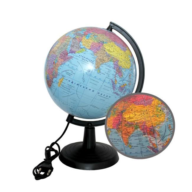 Глобус 2 в 1 политический/физический, с подсветкой, диаметр 220 мм.