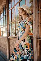 Платье-сарафан макси из хлопка юбка с оборками 5479o, 42
