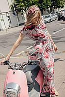 Платье макси из стрейч шифона серо-розовое цветочный принт 5481, 42