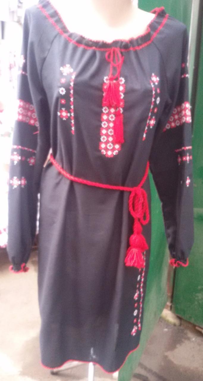 Платье вышиванка крестиком черное