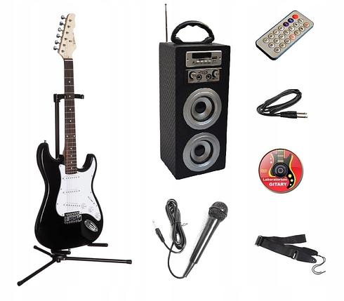 Гитарный набор (Єлектрогитара стойка  гитарный комбоусилитель микрофон ремень), фото 2