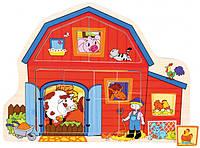 """Детский деревянный Пазл рамка-вкладыш с подложкой """"Фермерское хозяйство"""" Bino"""
