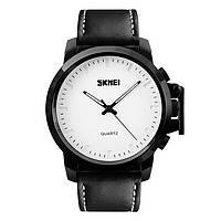 Skmei 1208 черные с белым циферблатом мужские классические часы, фото 1