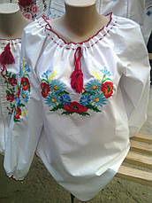 Женская вышиванка с незабудками и колосками, фото 2