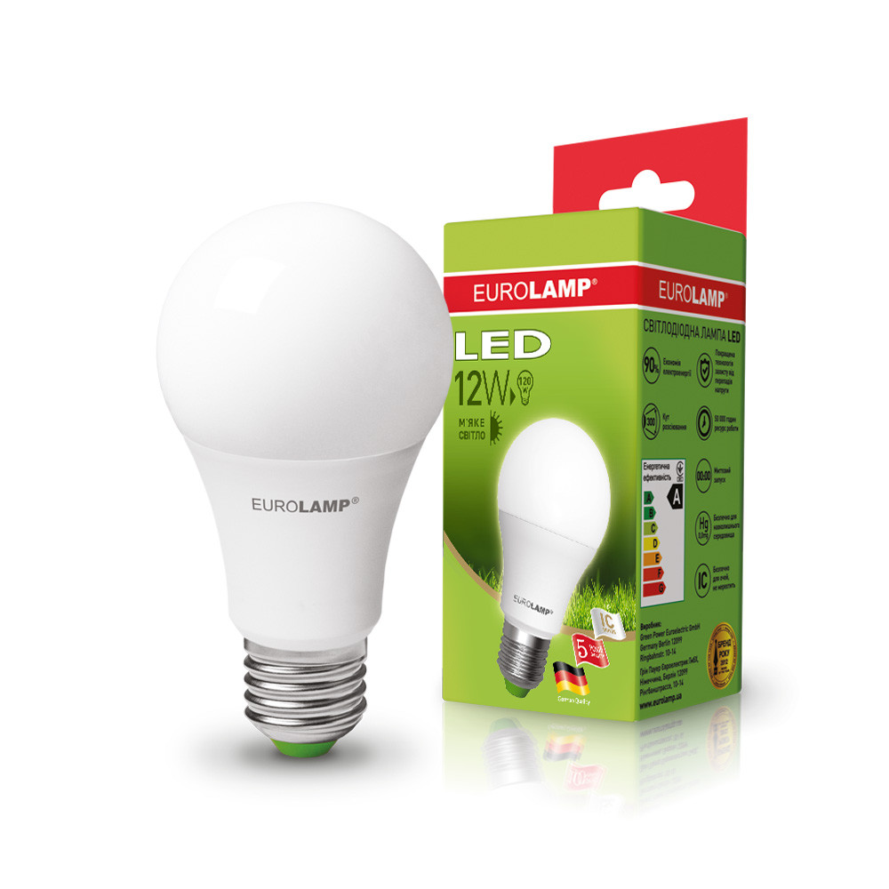 EUROLAMP LED Лампа ЕКО А60 12W E27 3000K