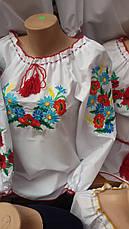 Женская вышиванка с незабудками и колосками, фото 3