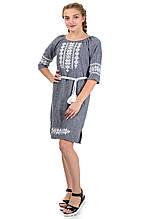 Женское платье вышиванка лен-габардин, серое .