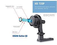 Беспроводная мини Wi-Fi IP-камераEscam Button Q6 1MP. ONVIF 2.4.2. Ночное видение Видео и радионяня. Yoosee