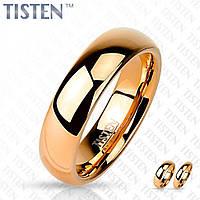 Кольцо Spikes из титан-вольфрама (тистена) R-TS-003 обручальное с IP-покрытием розовым золотом
