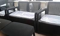 """Комплект мебели """"Tafia"""" из пластика (стол+диван+2 кресла) (имитация искусственного ротанга)"""