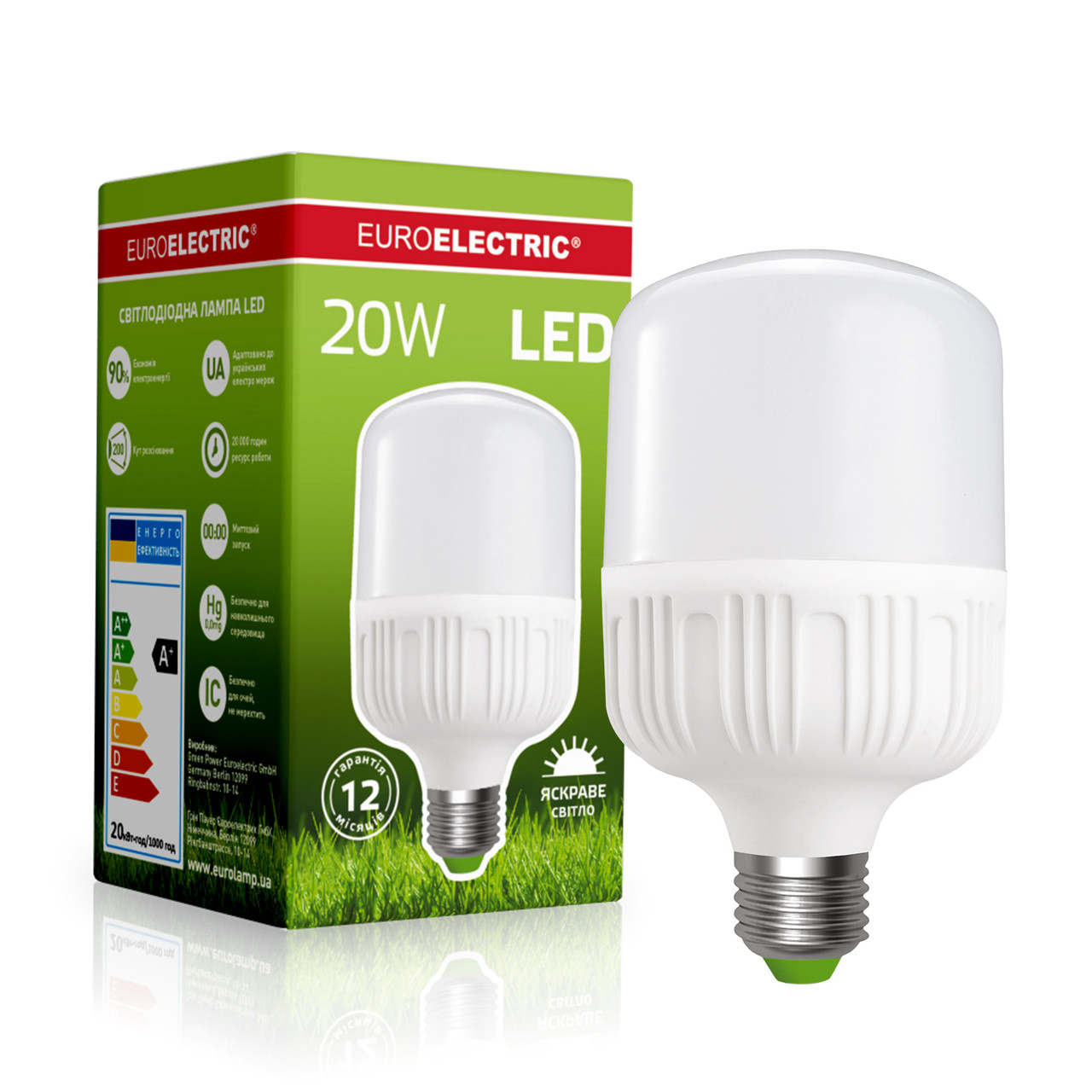EUROELECTRIC LED Лампа надпотужна Plastic 20W E27 4000K