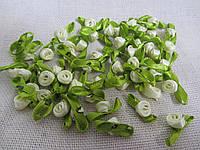 Розочки атласные с лент с листочками, 1,5 см (50 шт) (30)