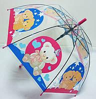 Прозрачный красочный детский зонт куполом Мишки, фото 1