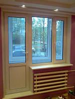 Выход на балкон REHAU 60 в Киеве, 2,1м*2,1м окно с открыванием