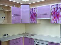 Кухня сиреневая, крашеная,глянец, угловая, цветы, фото 1