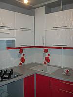 Кухня Красная с белым, пленочный МДФ,угловая