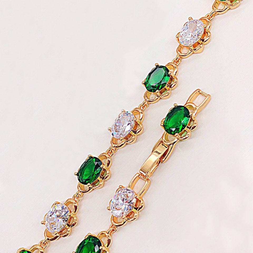 "Браслет Xuping Jewelry 17/19 см ""Флора"" бело-зеленый, медицинское золото, позолота 18К. А/В 2322"