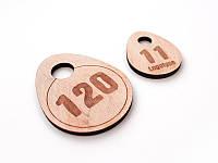 Гардеробный номерок из фанеры 35х45мм, односторонний (Кольцо: Без кольца для ключей;  Толщина фанеры: 4мм;)