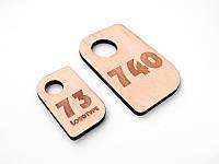 Номерок в гардероб з фанери 30 x 50мм, односторонній (Кільце: Без кільця для ключів; Товщина фанери: 4мм;)