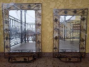 Зеркало в кованой раме большое с полкой, фото 2