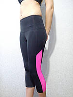 Спортивные капри высокие на широком поясе с розовой вставкой, фото 1