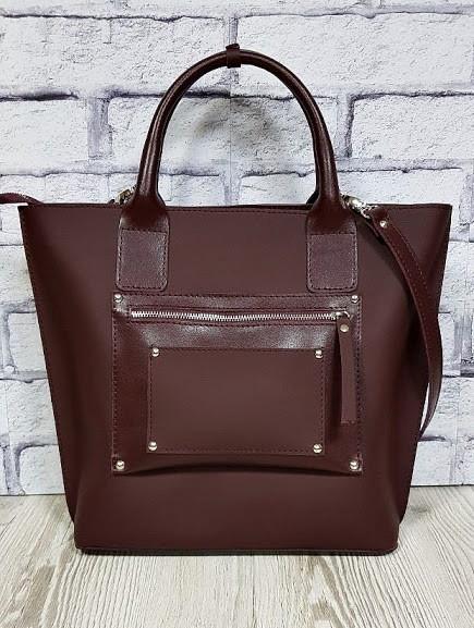 Деловая женская сумка из натуральной кожи, марсала суперматовая 1635