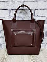 Деловая женская сумка из натуральной кожи, марсала суперматовая 1635, фото 1