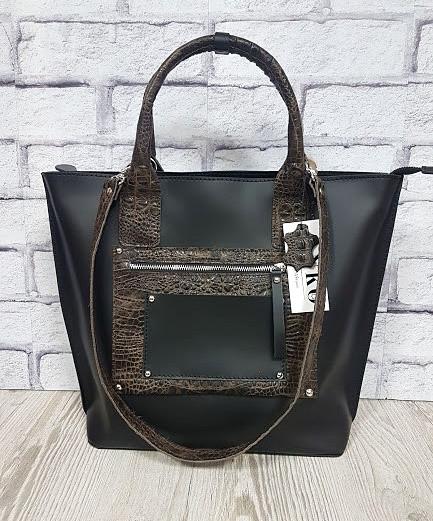 Деловая женская сумка из натуральной кожи, черная/рептилия 1635