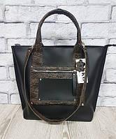 Деловая женская сумка из натуральной кожи, черная/рептилия 1635, фото 1