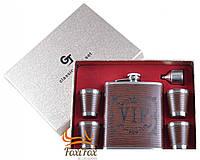 Подарочный набор фляга, 4 стопки, лейка VIP (кожа)
