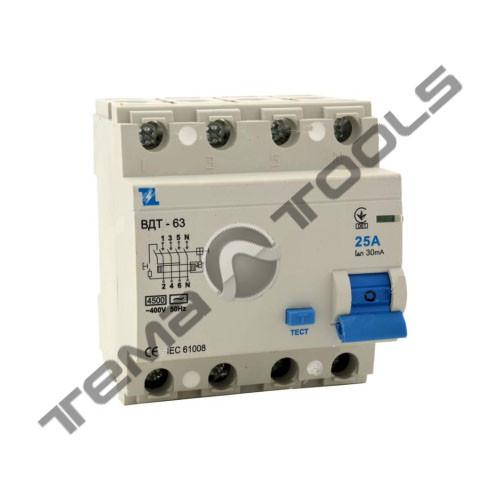 УЗО ВДТ-63 4P 30мА 25А  дифференциальный автоматический выключатель (автомат УЗО)