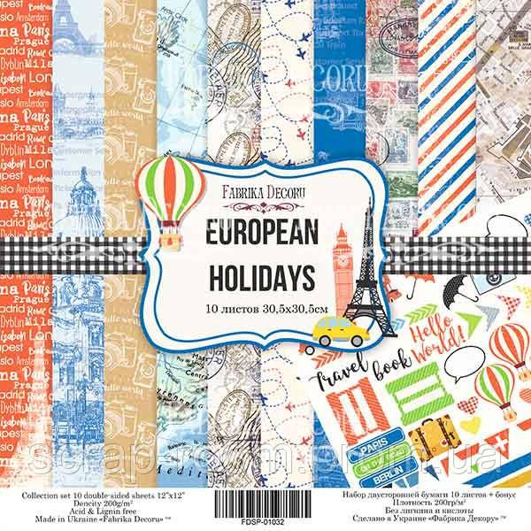 "НАБОР СКРАПБУМАГИ ""EUROPEAN HOLIDAYS"", 30,5X30,5СМ, ФАБРИКА ДЕКОРУ"