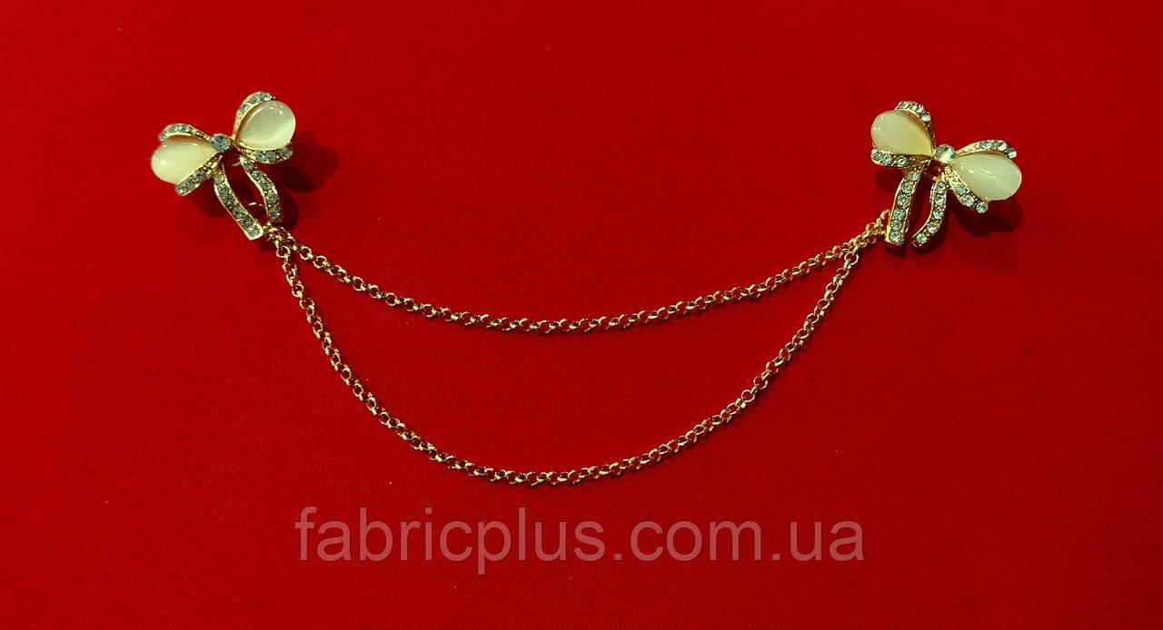 Зажим для комірця на шпильці золото (бантики)