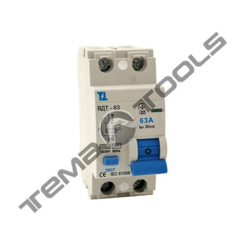 УЗО ВДТ-63 2P 40А 30мА з захистом від надструмів диференціальний автоматичний вимикач (автомат УЗО)