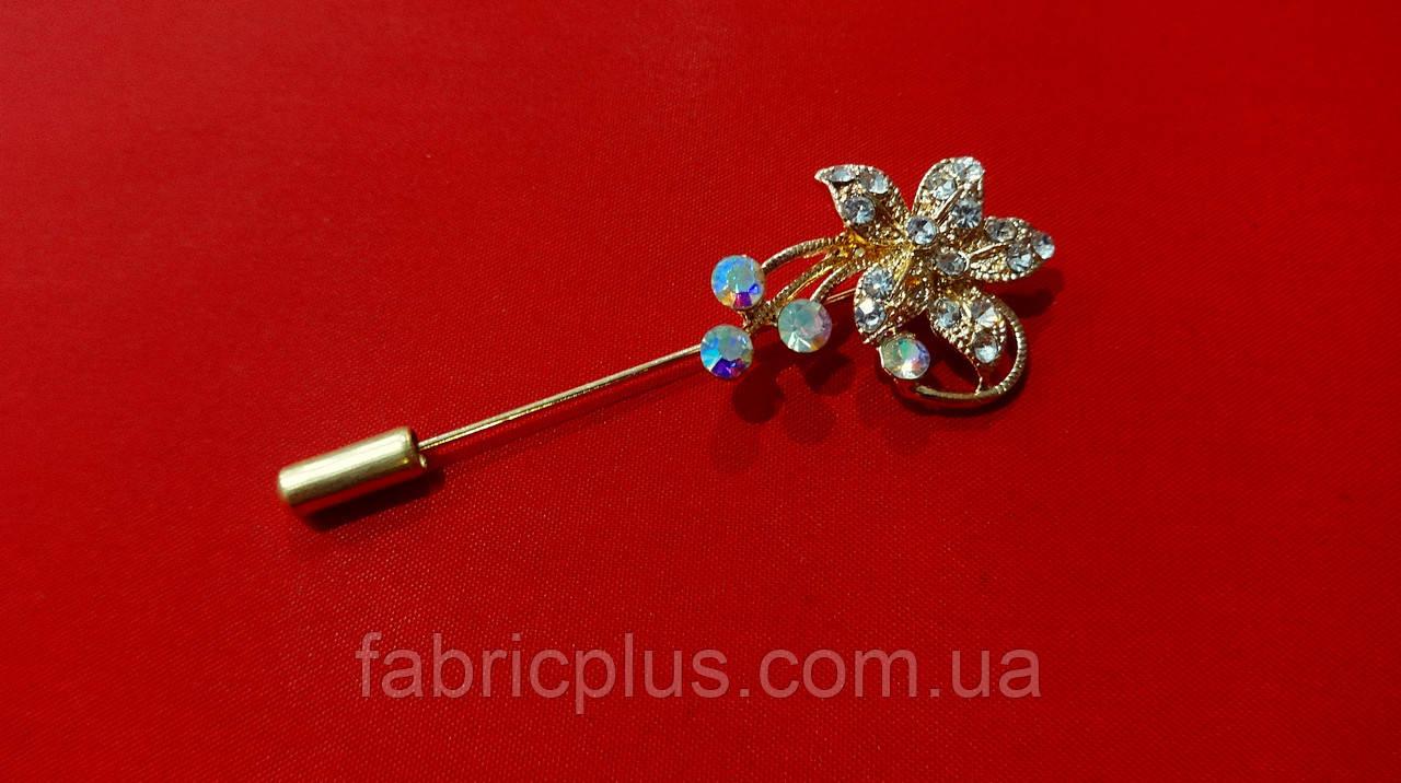 Брошка - шпилька квітка зі стразами золото